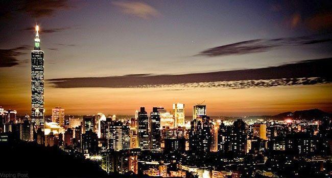Ville de Taiwan à la tombée de la nuit