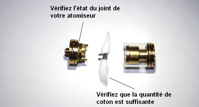 Vue détaillée d'un atomiseur pour corriger les fuites